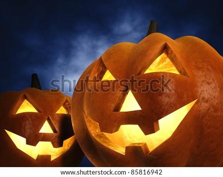 Halloween pumpkins , 3d illustration - stock photo