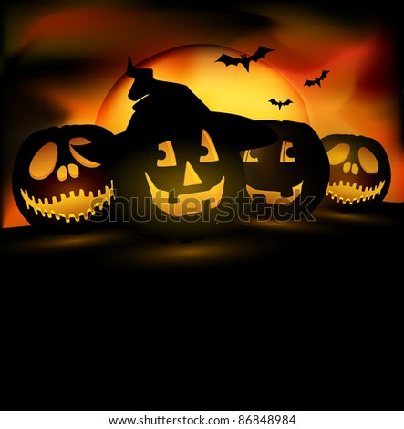 Halloween pumpkins | free space for your text - stock photo