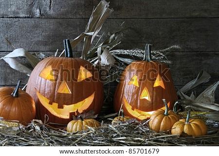 Halloween pumpkins in the barn for Halloween - stock photo