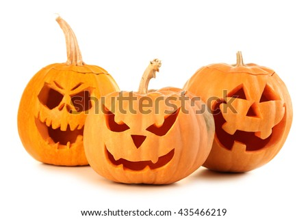 Halloween pumpkins isolated on a white - stock photo