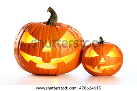 Halloween Pumpkins Isolated On White