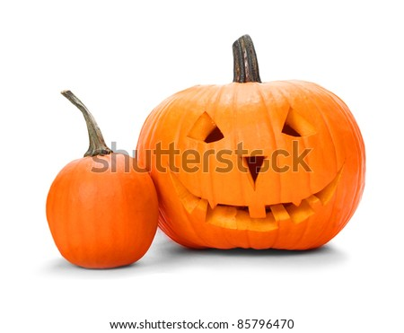 Halloween pumpkins isolated on white - stock photo