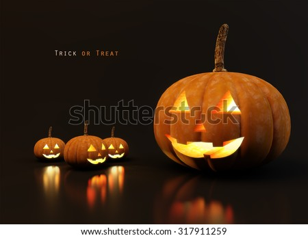 Halloween pumpkins jack with black background and simple texts. glowing faces trick or treat - stock photo