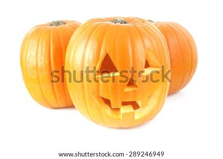 Halloween Pumpkins on white - stock photo