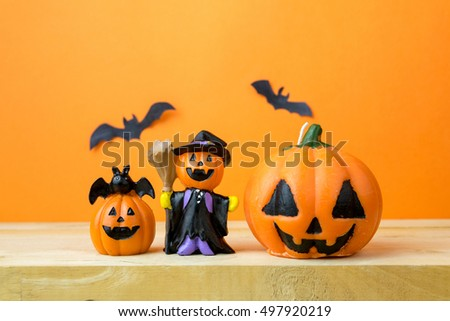 Halloween Pumpkins on wooden table