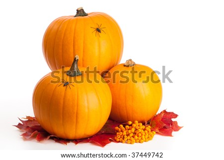 Halloween pumpkins sitting on a bed of fall leaves and berries
