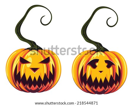 Halloween pumpkins with scary faces on white background. - stock photo