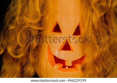 Halloween pumpkins with very scary face - stock photo