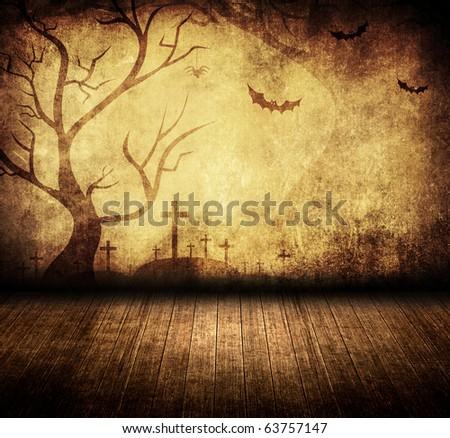 halloween retro room - stock photo