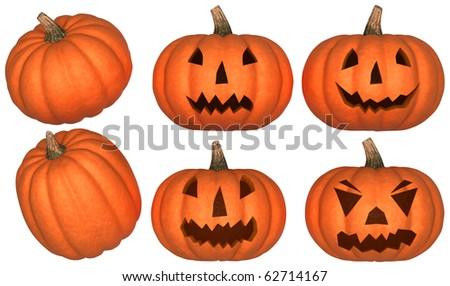 Halloween scary and funny pumpkins collection isolated over white. Other pumpkins are in my portfolio - stock photo