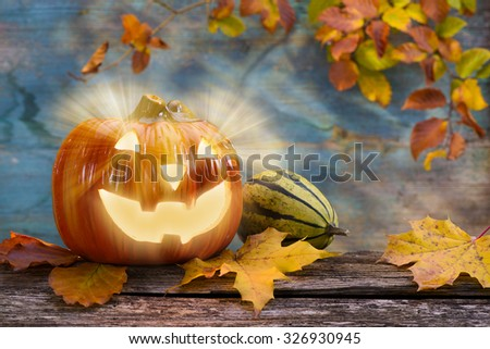 Halloween scary ghost with pumpkin - stock photo