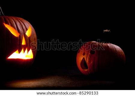 Halloween scary jack'o'lantern pumpkin faces - stock photo