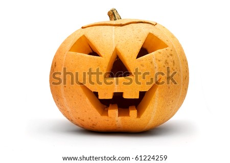 Halloween scary pumpkin face isolated on white - stock photo