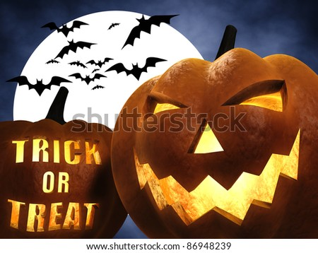Halloween scene , trick or treat - stock photo