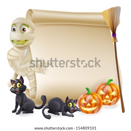 Halloween scroll or banner sign with orange carved Halloween pumpkins and black witch's cats, witch's broom stick and cartoon mummy character - stock photo