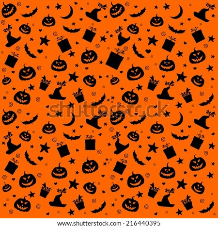 Halloween seamless background with bats and pumpkin.  illustration