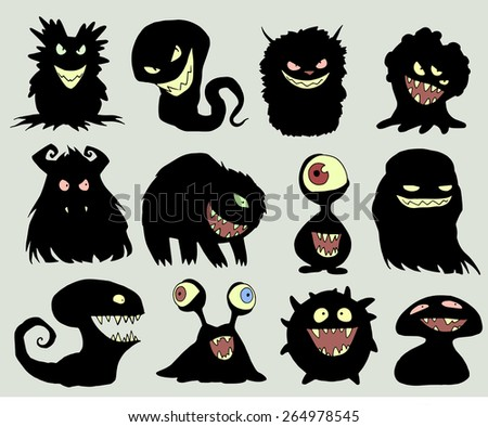 Halloween set of illustrations of different isolated monsters, bacteria, germs, aliens, devils and ghosts in black silhouette