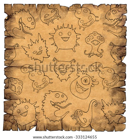 Halloween set of illustrations of different monsters, bacteria, germs, aliens and ghosts on an old paper parchment - stock photo