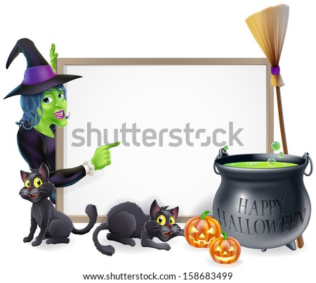 Halloween sign background with cartoon witch and happy Halloween cauldron - stock photo