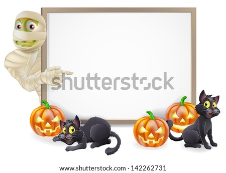 Halloween sign or banner with orange Halloween pumpkins and black witch's cats, witch's broom stick and cartoon Egyptian mummy character  - stock photo