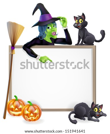 Halloween sign or banner with orange Halloween pumpkins and black witch's cats, witch's broom stick and cartoon witch character  - stock photo