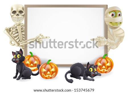 Halloween sign or banner with orange Halloween pumpkins and black witch's cats, witch's broom stick and cartoon skeleton and mummy characters  - stock photo