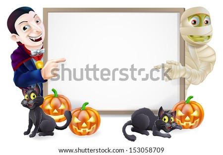 Halloween sign or banner with orange Halloween pumpkins and black witches cats, witch's broomstick and cartoon Dracula vampire and mummy characters  - stock photo
