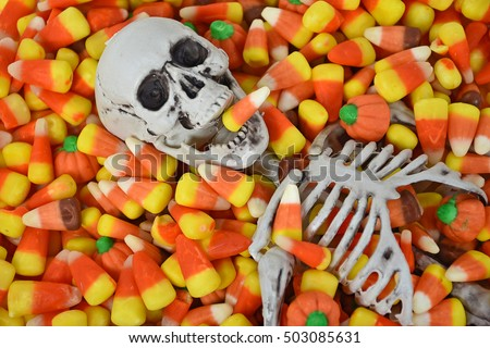 Halloween skeleton in candy corn