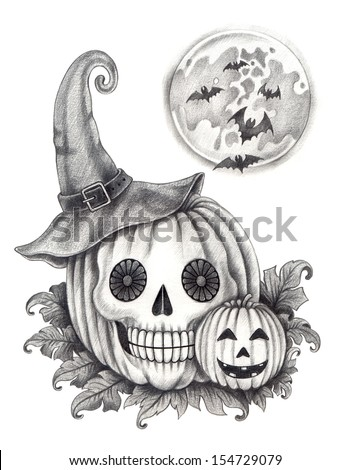Halloween skull pumpkin . Hand drawing on paper. - stock photo