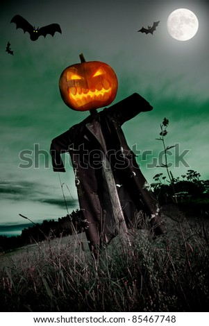Halloween spooky background with free space for text - stock photo