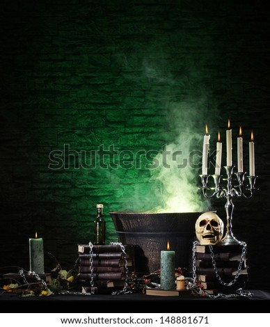 Halloween still-life background with a lot of different elements - stock photo