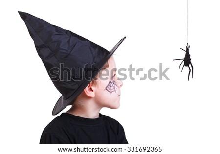 Halloween studio portrait of cute boy isolated on white - stock photo