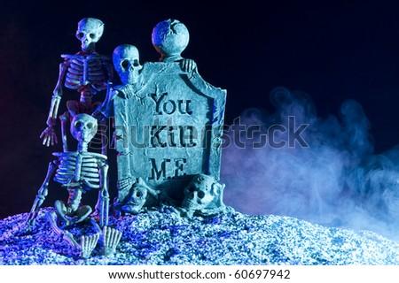 Halloween subject. Skeleton in smoke - stock photo