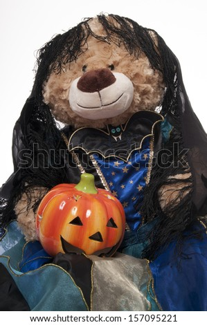 Halloween teddy bear dressed as witch isolated on white background