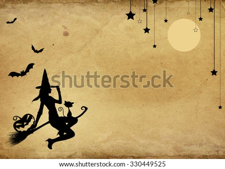 Halloween template design on old brown paper background