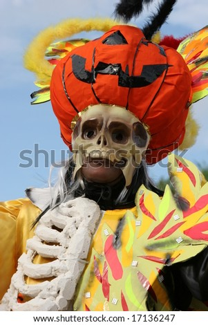 Halloween theme during a parade in French Guiana - stock photo