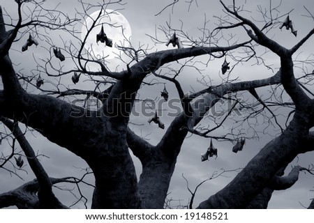 Halloween theme, flock of bats hanging in a tree - stock photo