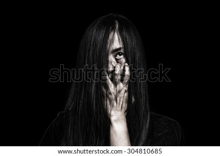 Halloween theme:Ghost Girl Horror isolated on black background.film filter effect.with clipping path. - stock photo