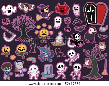 Halloween theme icon set. Vector illustration. - stock photo