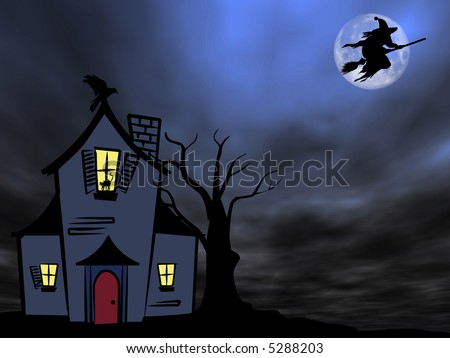 Halloween theme: Witch flying over the old house against the Moon
