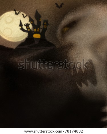 Halloween theme with haunted house and evil skeleton. Space for your text. - stock photo