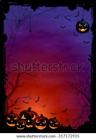 Halloween theme with pumpkins, bats and spiders on night background, illustration. - stock photo