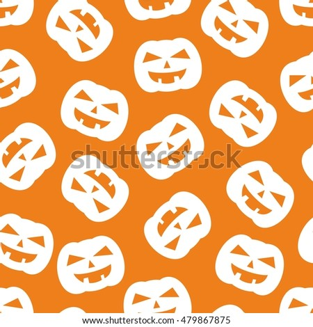 Halloween tile pattern with white pumpkin on orange background