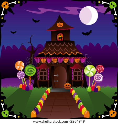 Halloween treats and spooky critters adorn this country cottage - with bats in the moonlit sky & a skull border - stock photo