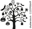 Halloween Tree isolated on White background.  illustration - stock vector