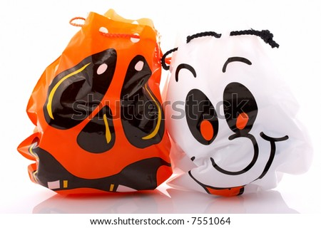 halloween trick or treat bag over a white background
