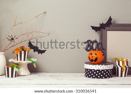 Halloween website header design with copy space - stock photo