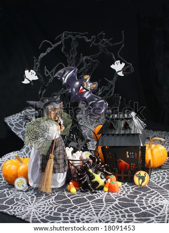 Halloween Witch and Candy - stock photo