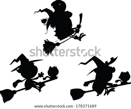Halloween Witch Cartoon Silhouettes. Set Raster Collection