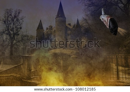 halloween witch flying on her broom - stock photo